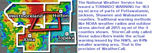 Storm based warning map